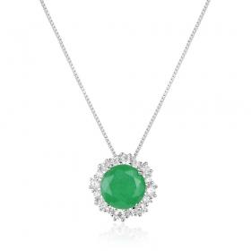Colar em prata 925 pingente flor cravejada pedra esmeralda fusion