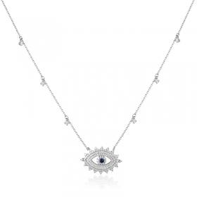 Colar luxo pingente olho grego cravejado com cristais na corrente ródio branco