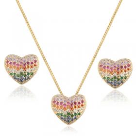 Conjunto brinco e colar coração zircônias rainbow banho de ouro