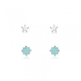 Dupla de Brincos Azul e Estrela Folheado em Ródio Branco