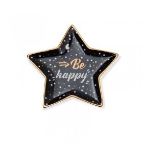 Pratinho de porcelana estrela be happy