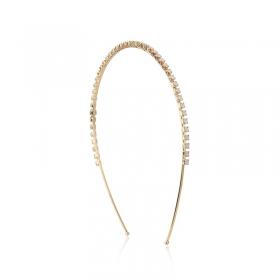 Tiara cristais furta cor banho de ouro