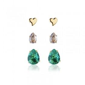 Trio de brincos gotas e coração lilás e verde banho de ouro
