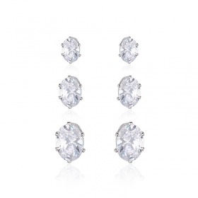 Trio de brincos pedras ovais ródio branco