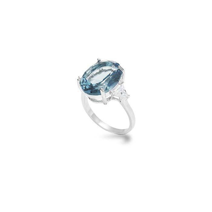 Anel cor aquamarine oval 2 triângulos semijoia