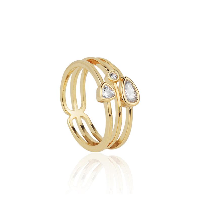 Anel cristais geométricos banho de ouro
