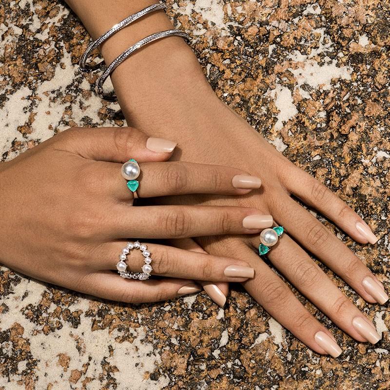 Anel em prata 925 com pérola e pedras cor turmalina