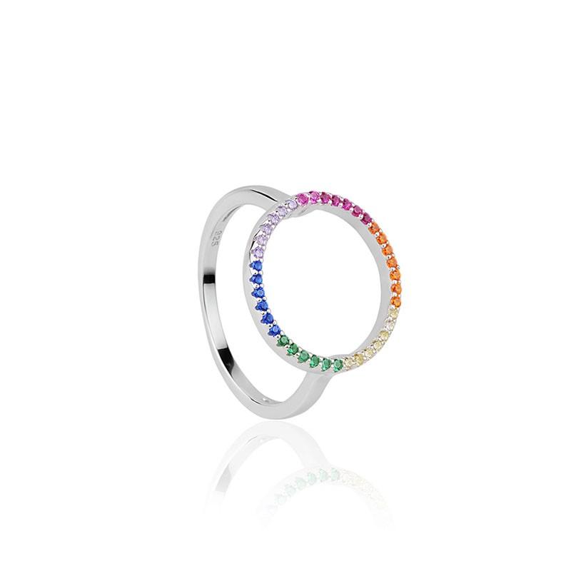 Anel em prata 925 oval com pedras rainbow