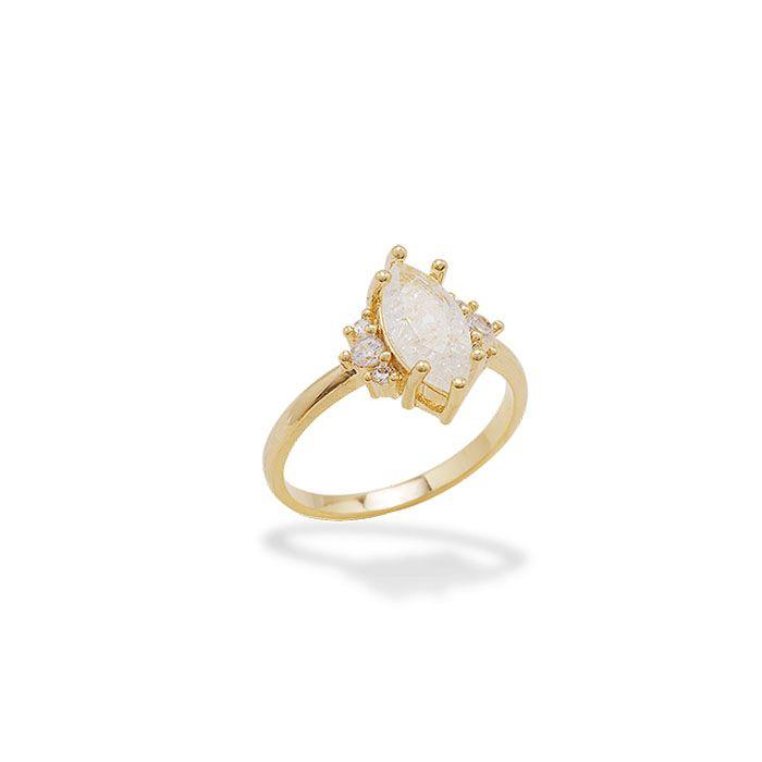 Anel Navete e Zircônias Cristal Ouro 18K