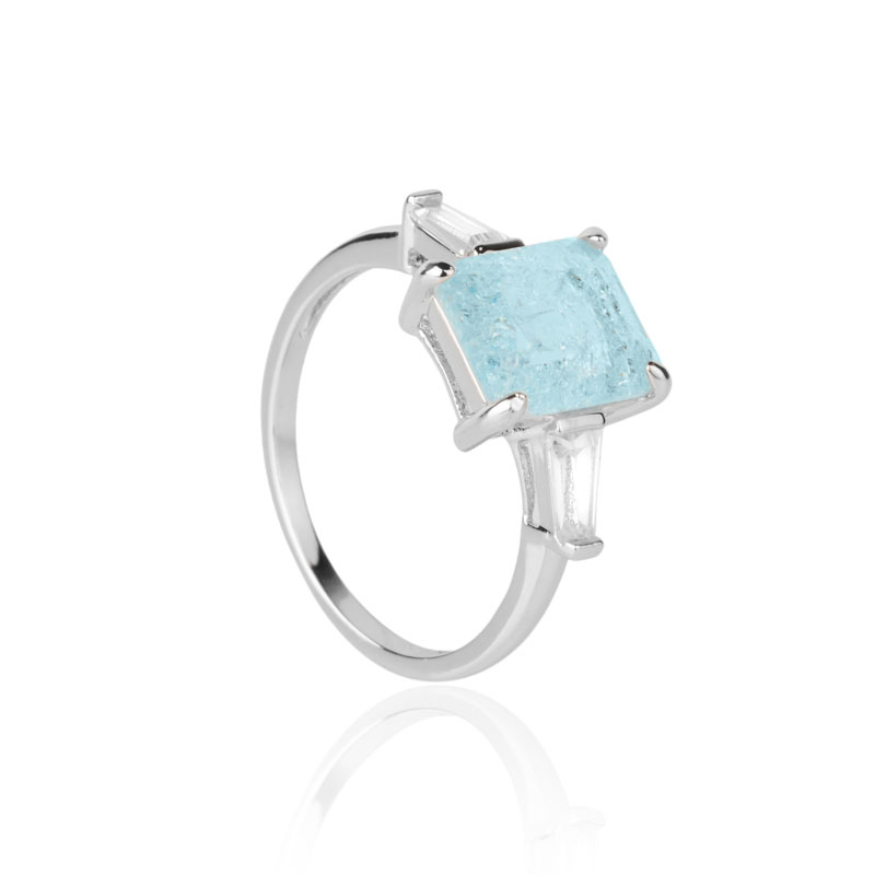 Anel Milliá Retangular Azul Cristal Ródio Branco