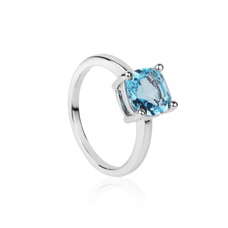 Anel solitário pedra quadrada azul no ródio branco semijoia
