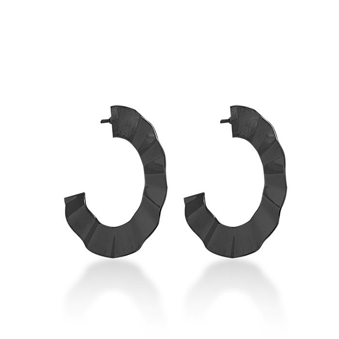 Brinco Argola Pequena Efeito Ondulado Ródio Negro