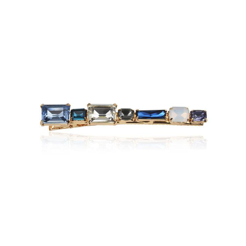 Bico de pato pedras retangulares tons de azul dourada