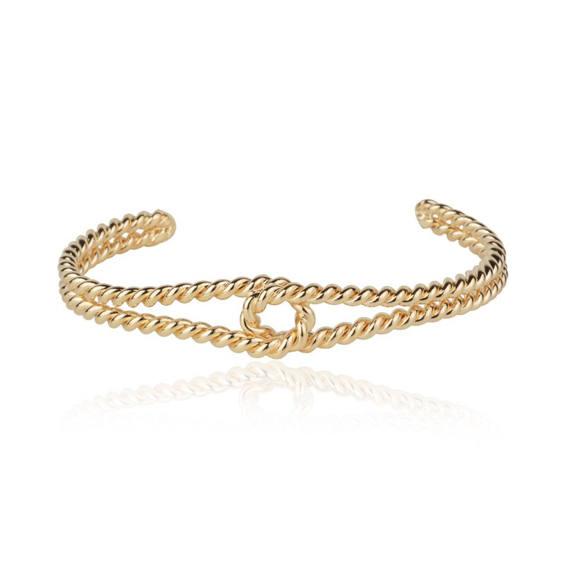 Bracelete aro torcido com detalhe banho de ouro