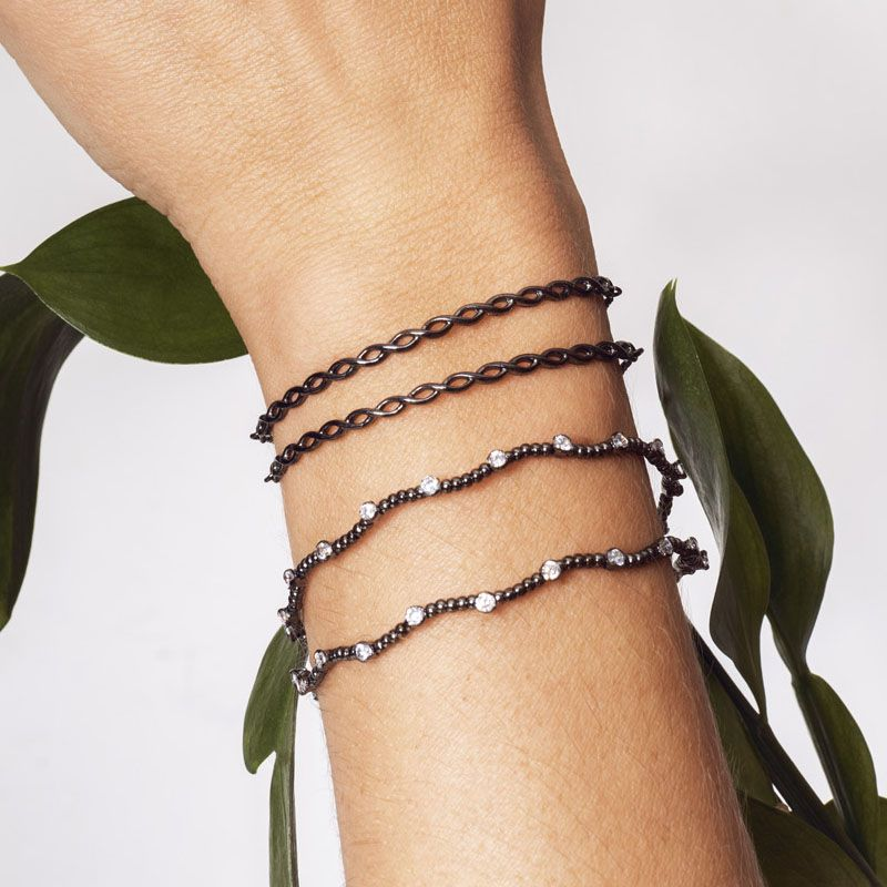 Bracelete bolinhas ponto de luz ródio negro