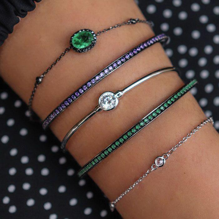 Bracelete Cravejado Cor Esmeralda Ródio Negro