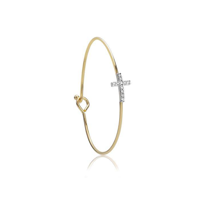 Bracelete Cruz Cravejada Banho de Ouro