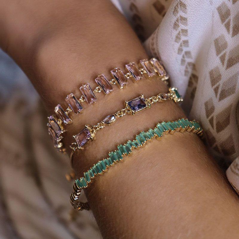 Bracelete Detalhes Cor Turmalina Banho de Ouro