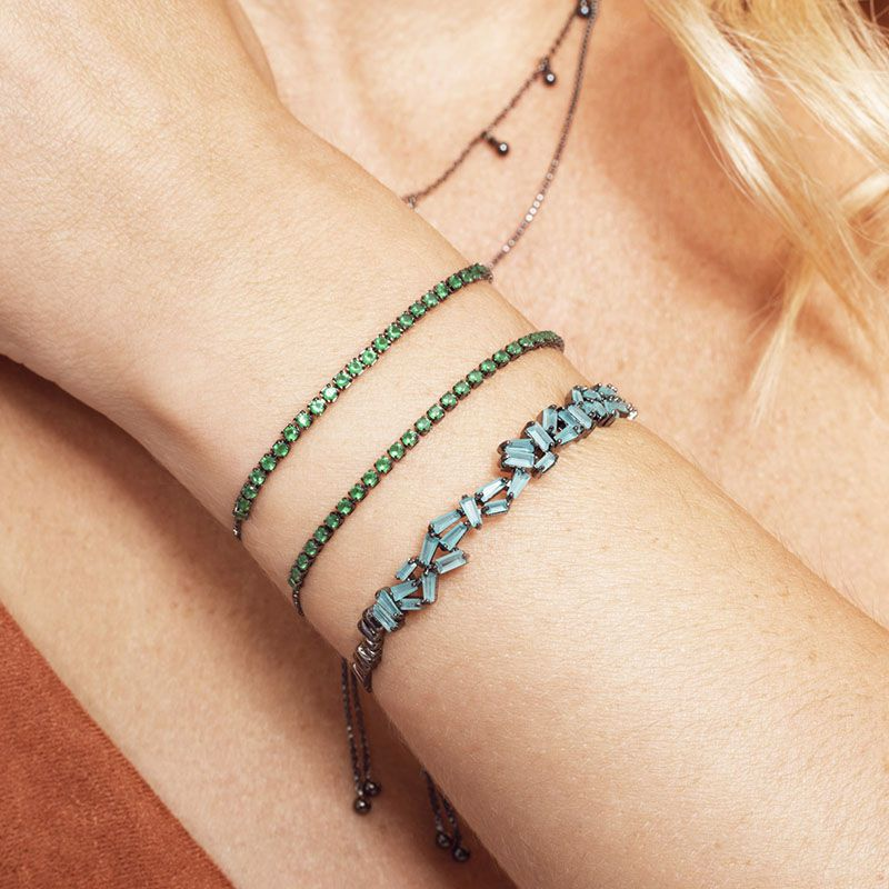Bracelete detalhes cor turmalina com banho de ródio negro