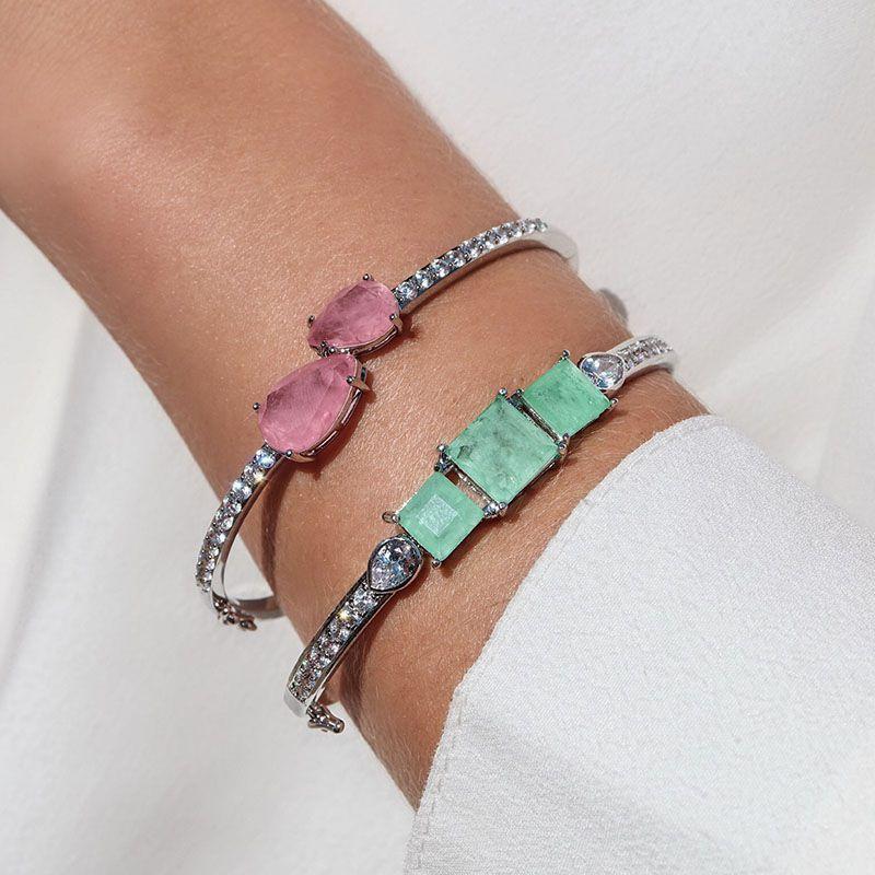 Bracelete gota dupla rosa fusion original cravejado ródio branco