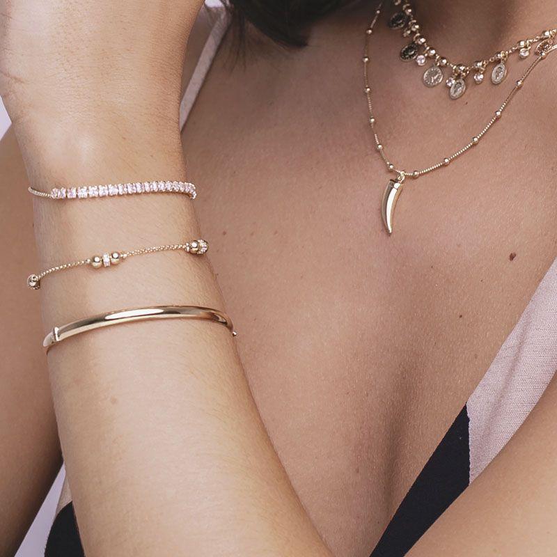 Bracelete liso banho de ouro