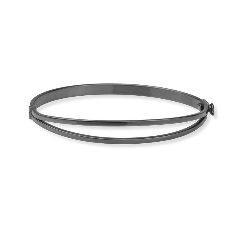 Bracelete liso detalhe ródio negro