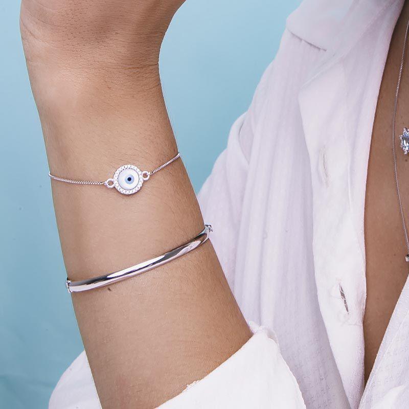 Bracelete liso ródio branco