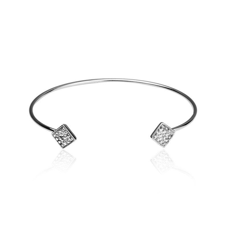 Bracelete losango cravejado nas pontas ródio branco