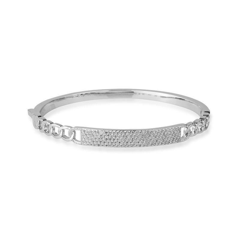 Bracelete luxo corrente detalhe cravejado ródio branco