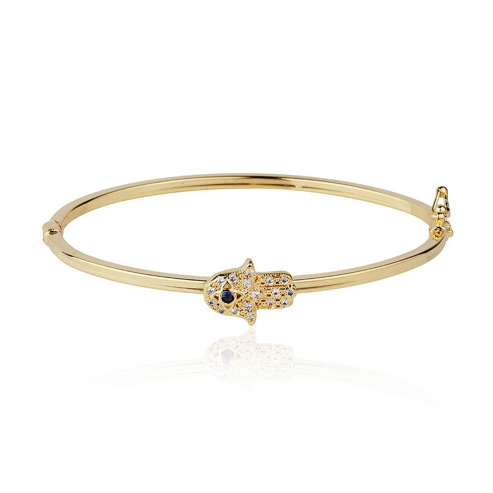 Bracelete Mão de Hamsá Cravejado Banho de Ouro