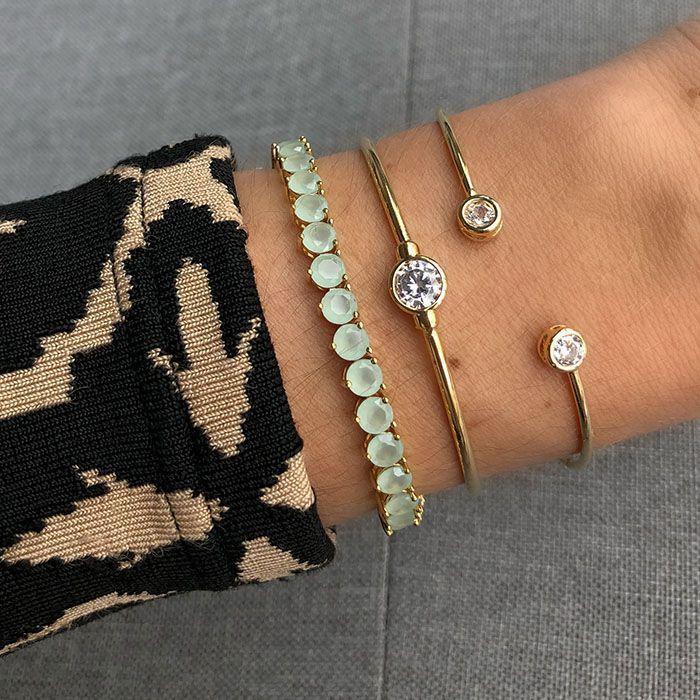 Bracelete Ponto de Luz Duplo Ouro 18K