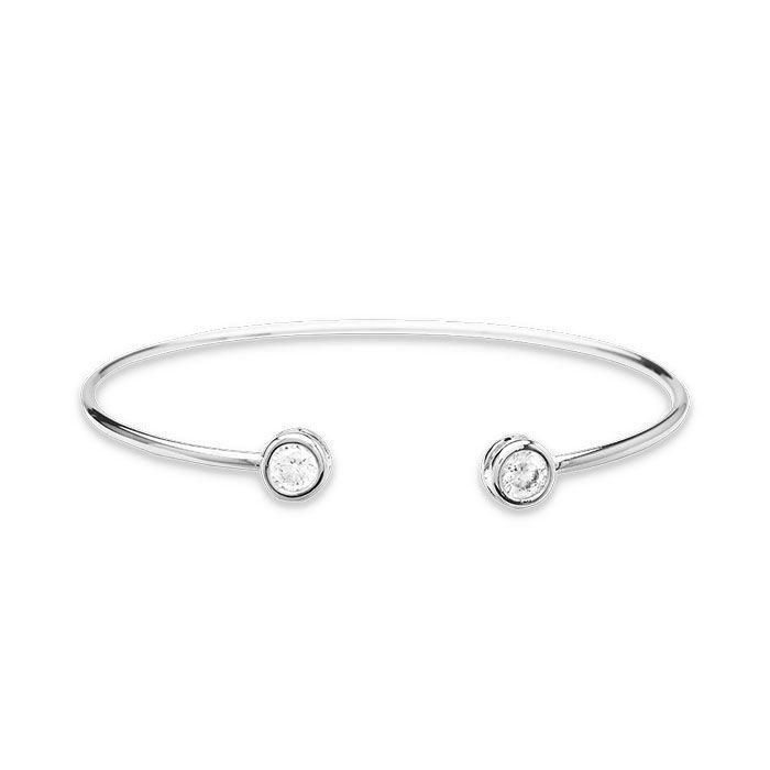 Bracelete Ponto de Luz Duplo Ródio Branco