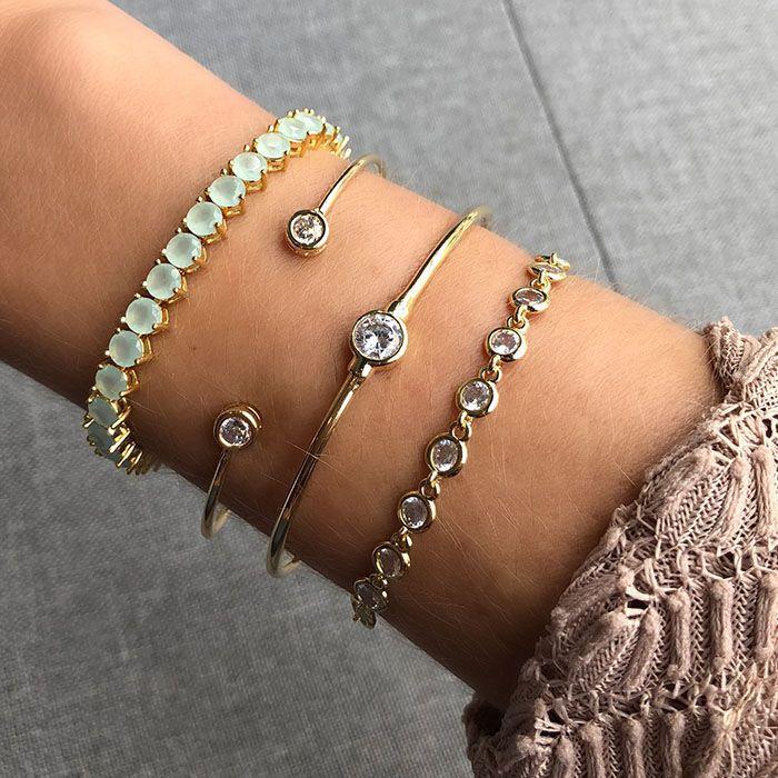 Bracelete Ponto de Luz Solitário Ouro 18K