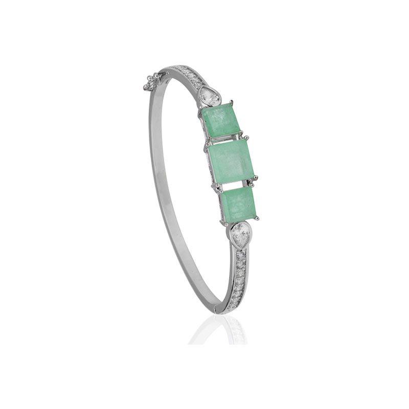 Bracelete quadrado turmalina fusion original cravejado ródio branco