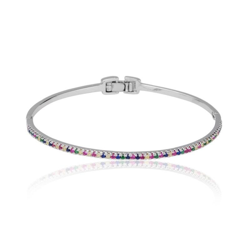 Bracelete zircônias cravejadas coloridas ródio branco