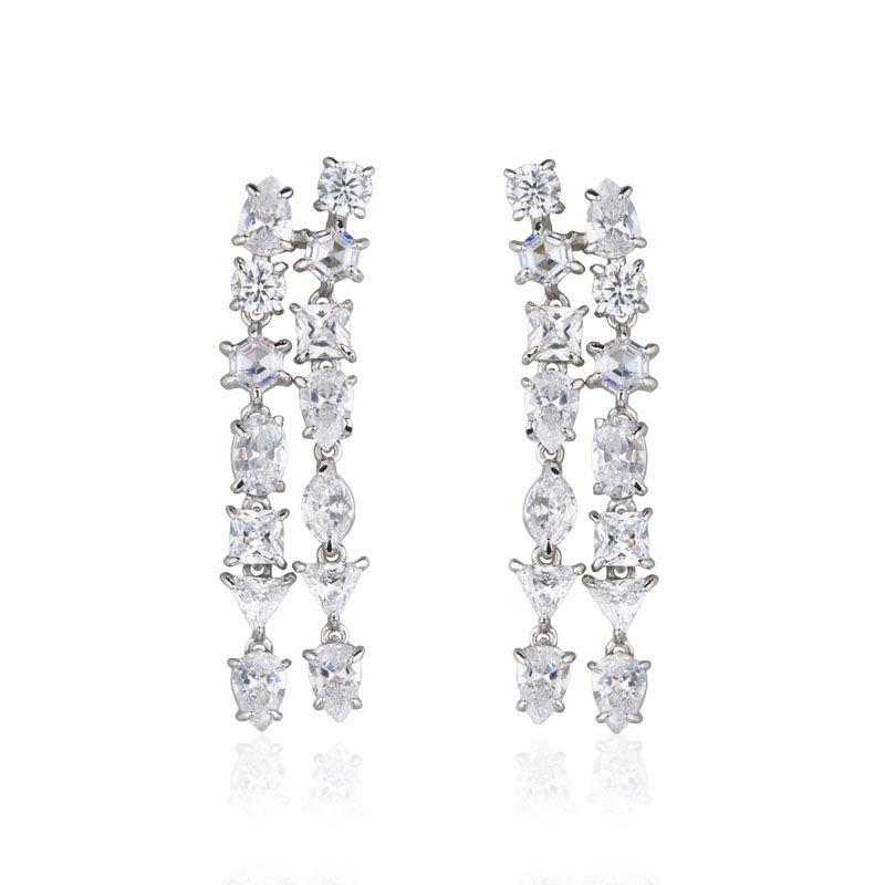 Brinco cascata zircônias cristais ródio branco