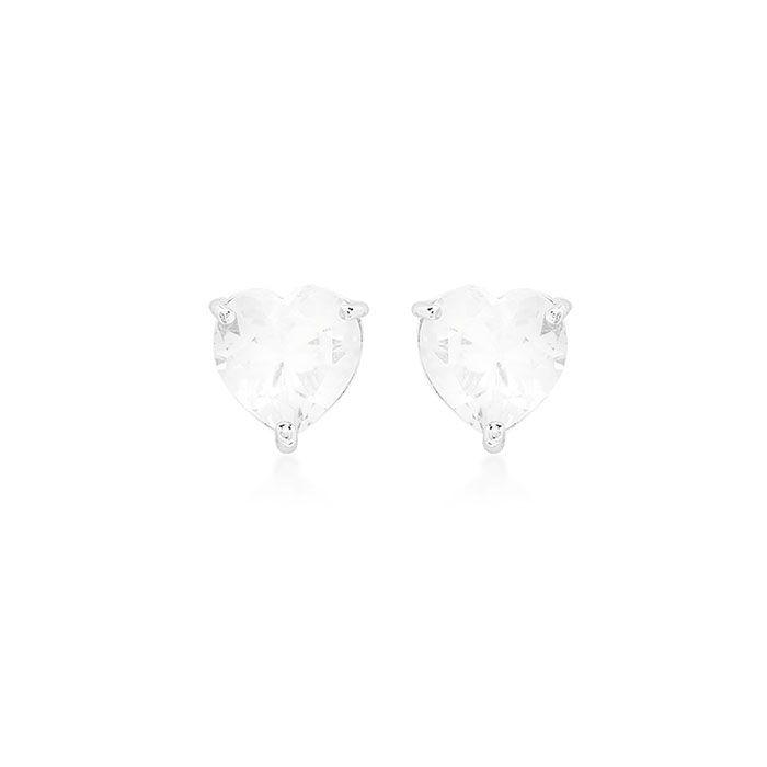 Brinco Coração Cristal Ródio Branco