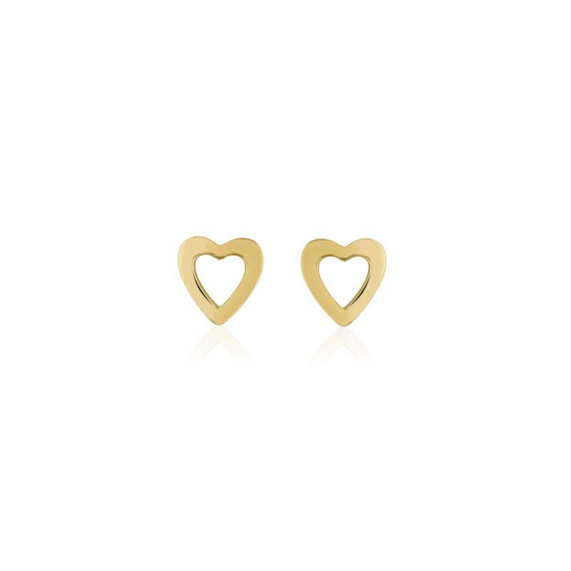 Brinco coração vazado folheado a ouro