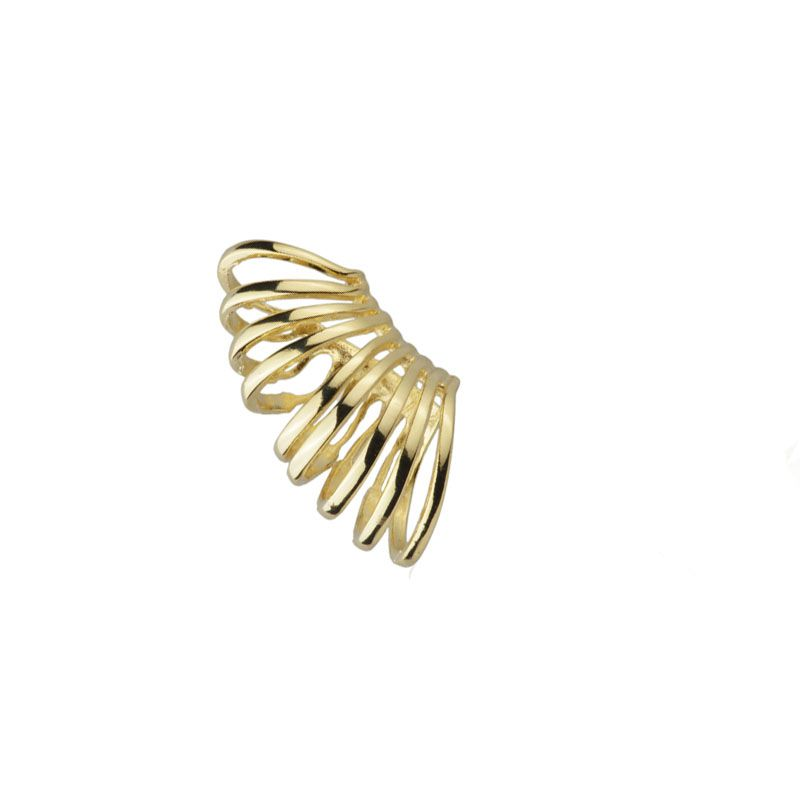Brinco de encaixe com filetes no banho de ouro (unidade)