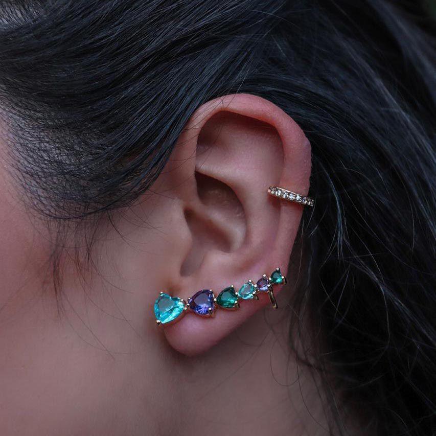 Brinco Ear Cuff Colors Corações Banho de Ouro