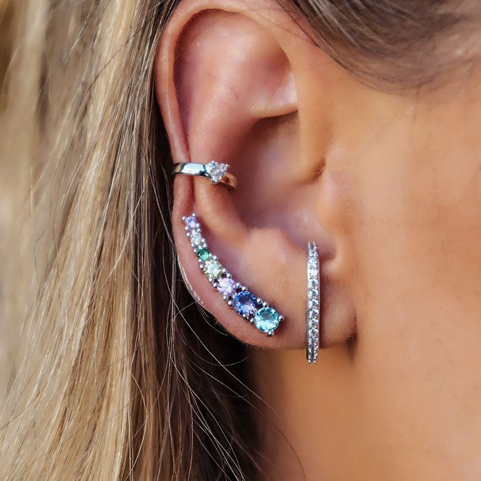 Brinco Ear Cuff Colors Ródio Branco