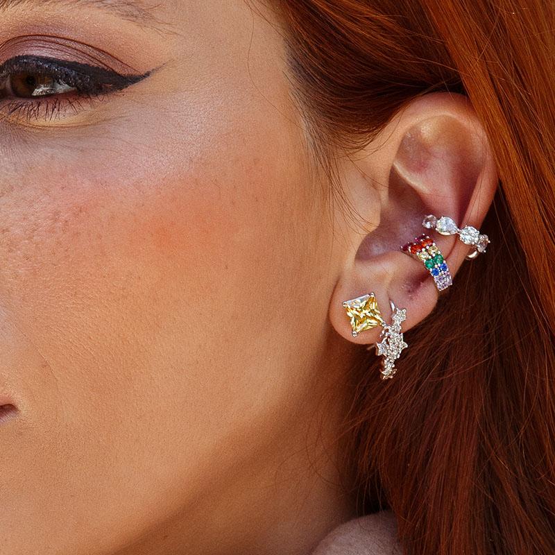 Brinco ear cuff com pingente estrelinha ródio branco
