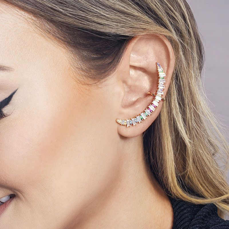 Brinco ear cuff cristais com zircônia coloridas banho de ouro