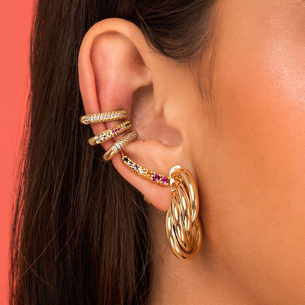 Brinco Milliá Ear Cuff Cristais Rainbow Banho de Ouro