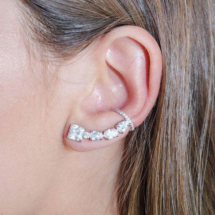 Brinco Ear Cuff Cristal Ródio Branco