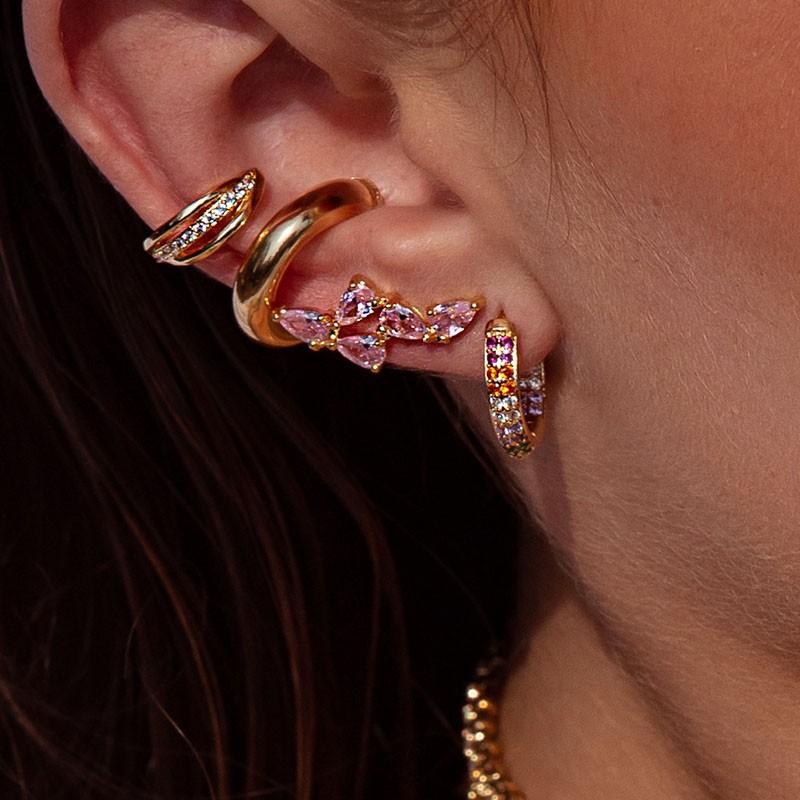 Brinco Milliá Ear Cuff Delicado Pedras Rosas Banho Ouro 18k