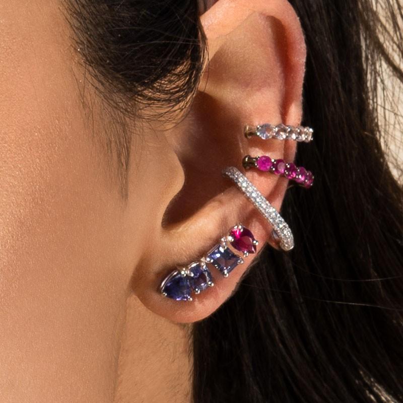 Brinco ear cuff em prata 925 pedras ametista e rubi
