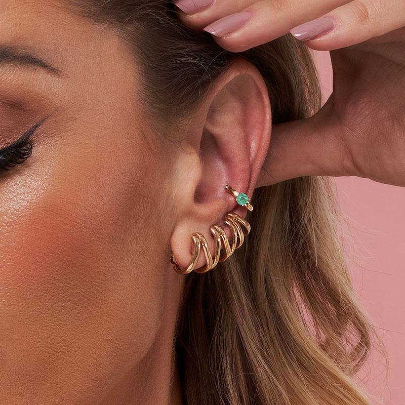 Brinco ear cuff filetes banho de ouro 18k