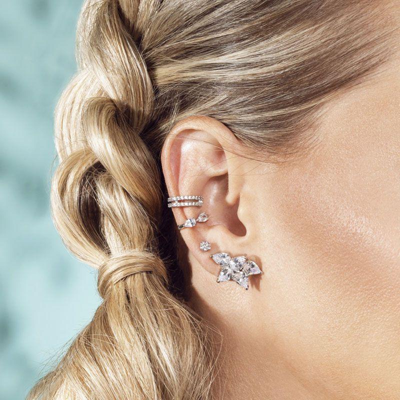 Brinco ear cuff flower cristal ródio branco