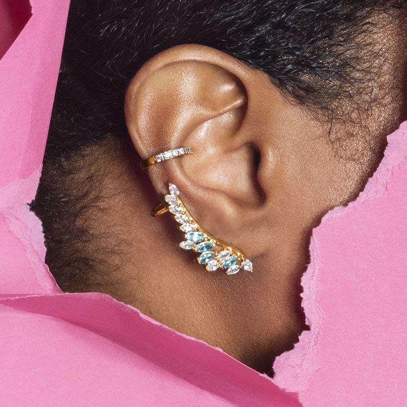 Brinco ear cuff folha cristal e água marinha banho de ouro
